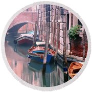 Boats Bridge And Reflections In A Venice Canal Round Beach Towel