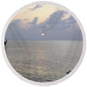 Boats Coming To A Rest For The Day At Sunset In The Lakshadweep Islands Round Beach Towel