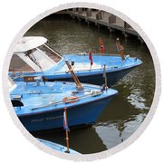 Boats In Amsterdam. Holland Round Beach Towel