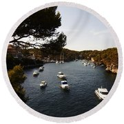 Boats In Cala Figuera Round Beach Towel