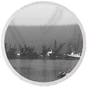 Boats In Harbor Charcoal Round Beach Towel by Chalet Roome-Rigdon