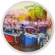 Boats In Italy Round Beach Towel