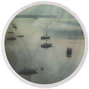 Boats In Mist Round Beach Towel