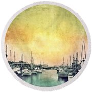 Boats In The Harbor Round Beach Towel