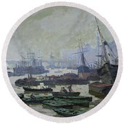 Boats In The Pool Of London Round Beach Towel