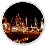 Boats Lighted Round Beach Towel