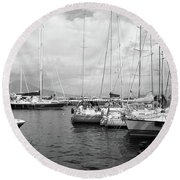 Boats Meeting Round Beach Towel
