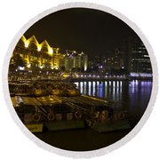 Boats Moored To The Side At Clarke Quay In Singapore Round Beach Towel