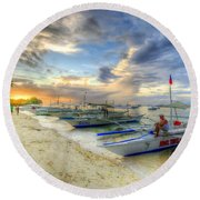 Boats Of Panglao Island Round Beach Towel