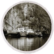 Boats On Halong Bay 1 Round Beach Towel