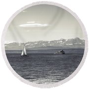 boats on Lake Constance Round Beach Towel