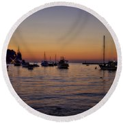 Boats On The Adriatic Sea Round Beach Towel