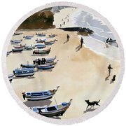 Boats On The Beach Round Beach Towel by Lucy Willis