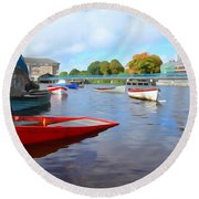Boats On The Garavogue Round Beach Towel