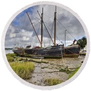 Boats On The Hard At Pin Mill Round Beach Towel