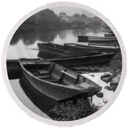 Boats On The Vienne Round Beach Towel