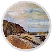 Boatyard Near Honfleur Round Beach Towel by Claude Monet