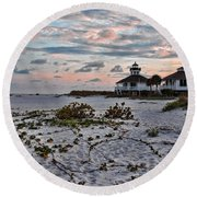 Boca Grande Sunset Round Beach Towel
