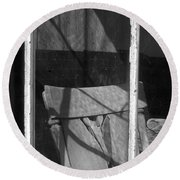 Bodi Ghost Town Window Round Beach Towel
