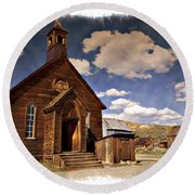 Bodie Church - Impressions Round Beach Towel
