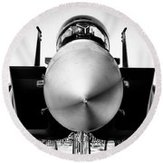 Boeing F-15sg Eagle Black And White Round Beach Towel