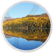 Bonnie Lake Reflections Round Beach Towel