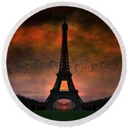 Bonsoir Paris Round Beach Towel