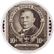 Booker T Washington Postage Stamp Round Beach Towel