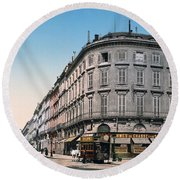Bordeaux - France - Rue Chapeau Rouge From The Palace Richelieu Round Beach Towel by International  Images