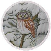Boreal Owl Round Beach Towel