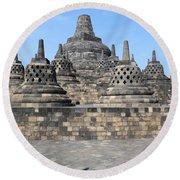Borobudur Mahayana Buddhist Monument Round Beach Towel