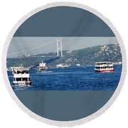 Bosphorus Traffic Round Beach Towel