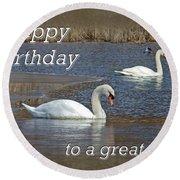 Boss Birthday Card - Mute Swans On Winter Pond Round Beach Towel