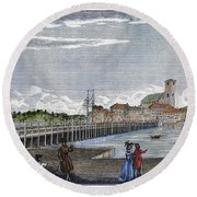 Boston: Charles River, 1789 Round Beach Towel