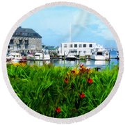Boston Scene- Boston City Art Round Beach Towel