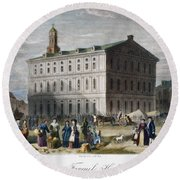 Boston: Faneuil Hall, 1776 Round Beach Towel