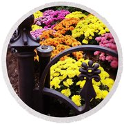 Boston Flowers Round Beach Towel