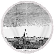 Boston Harbor, 1776 Round Beach Towel