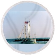Boston Harbor  Round Beach Towel