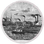 Boston: Iron Foundry, 1876 Round Beach Towel