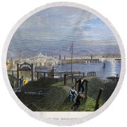 Boston, Mass., 1838 Round Beach Towel