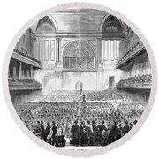 Boston: Music Hall, 1856 Round Beach Towel