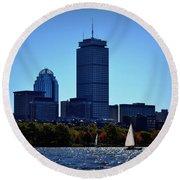 Boston Skyline 2 Round Beach Towel