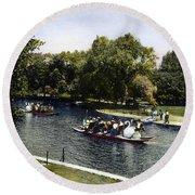 Boston: Swan Boats, C1900 Round Beach Towel