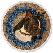 Boston Terrier Love Round Beach Towel
