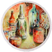 Bottles And Glasses And Mugs 03 Round Beach Towel