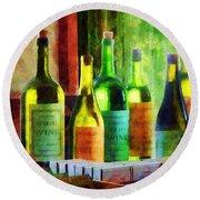 Bottles Of Wine Near Window Round Beach Towel