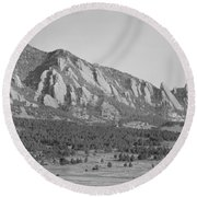 Boulder Colorado Flatiron Scenic View With Ncar Bw Round Beach Towel