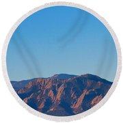 Boulder Colorado Flatirons Hot Air Balloon View Round Beach Towel