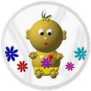 Bouncing Baby Girl With 7 Flowers Round Beach Towel
